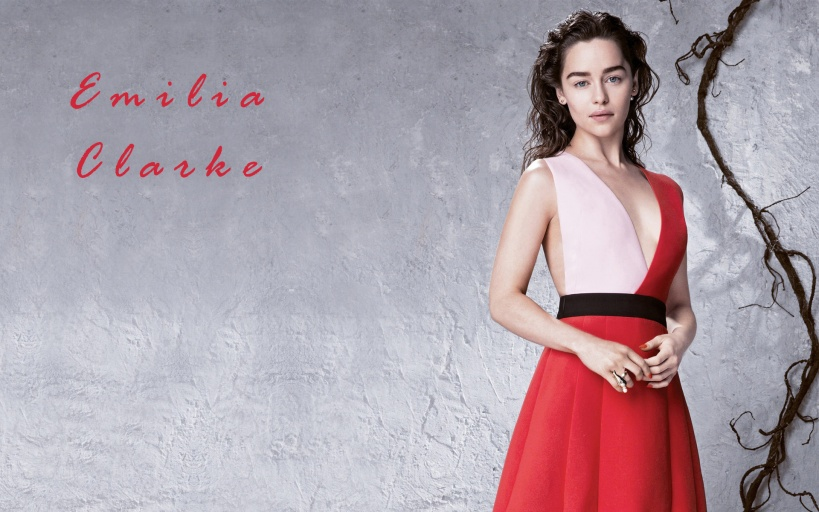 Emilia Clarke in Red HD Wallpaper